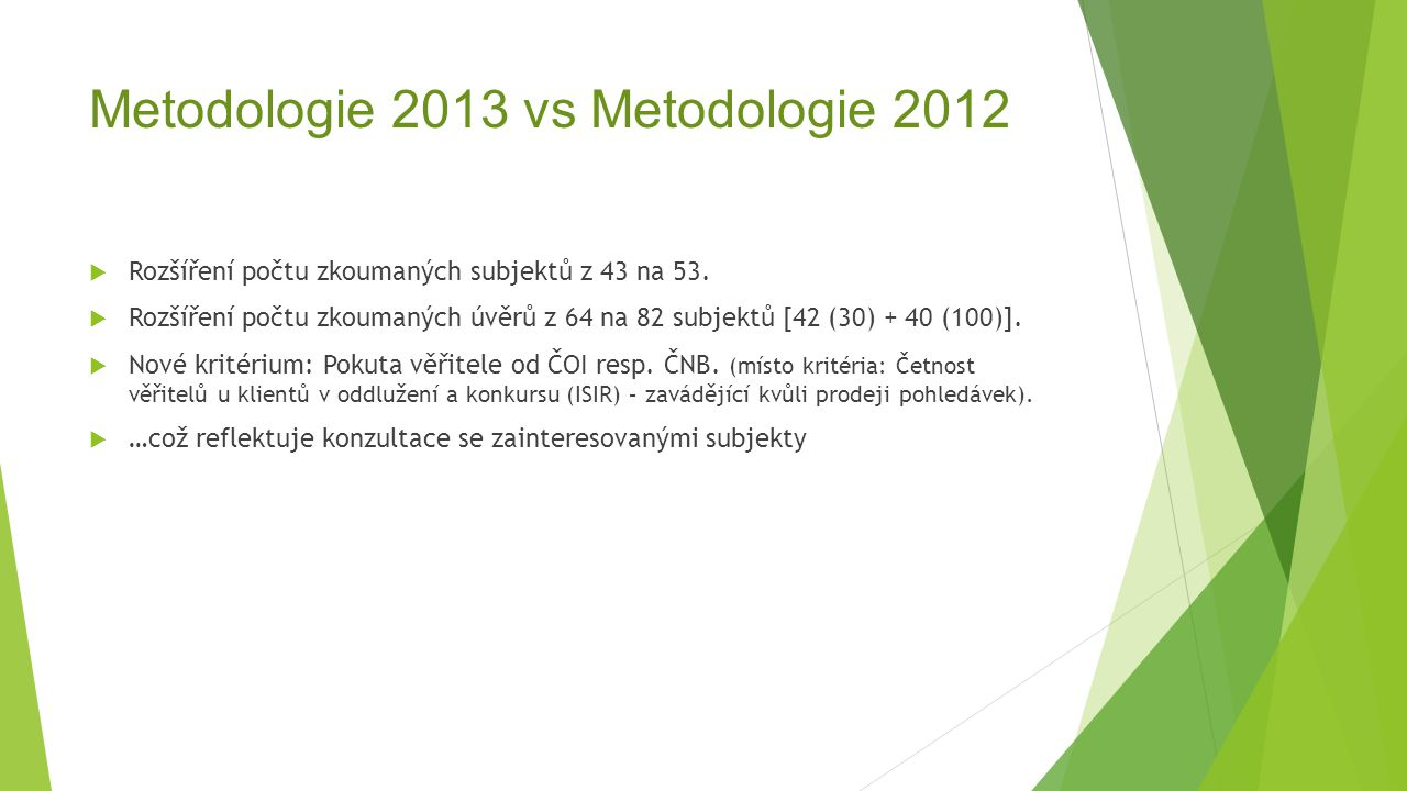 Metodologie 2013 vs Metodologie 2012