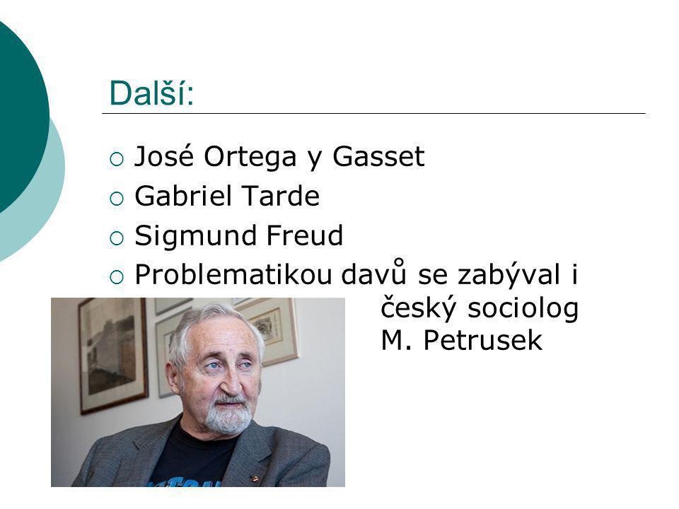 Další: José Ortega y Gasset Gabriel Tarde Sigmund Freud