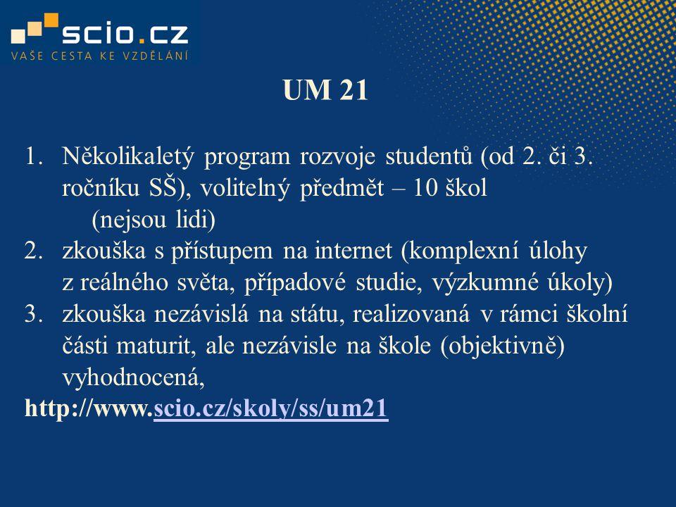 UM 21 Několikaletý program rozvoje studentů (od 2. či 3. ročníku SŠ), volitelný předmět – 10 škol (nejsou lidi)
