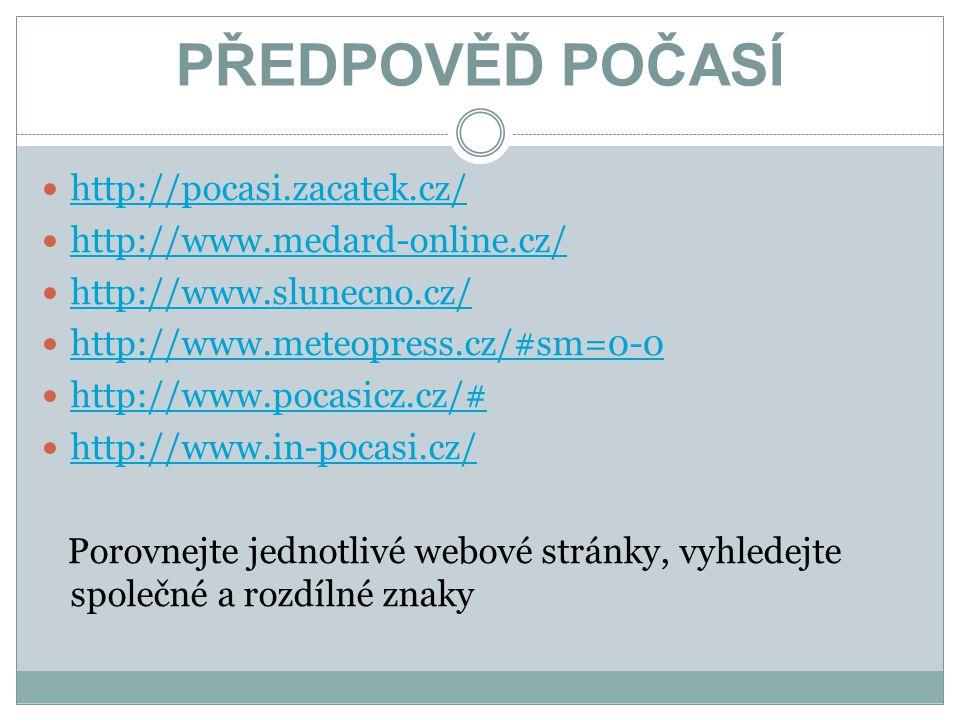 PŘEDPOVĚĎ POČASÍ http://pocasi.zacatek.cz/