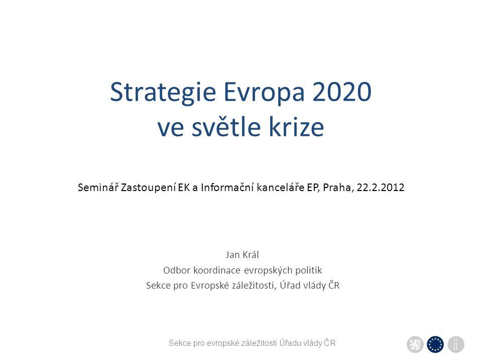 Strategie Evropa 2020 ve světle krize Seminář Zastoupení EK a Informační kanceláře EP, Praha, 22.2.2012