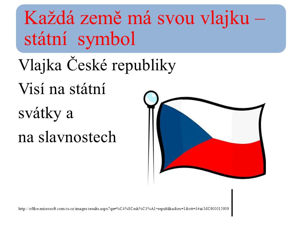Každá země má svou vlajku –státní symbol