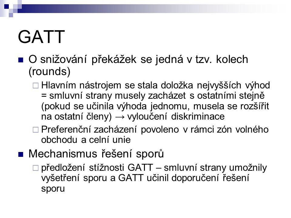 GATT O snižování překážek se jedná v tzv. kolech (rounds)