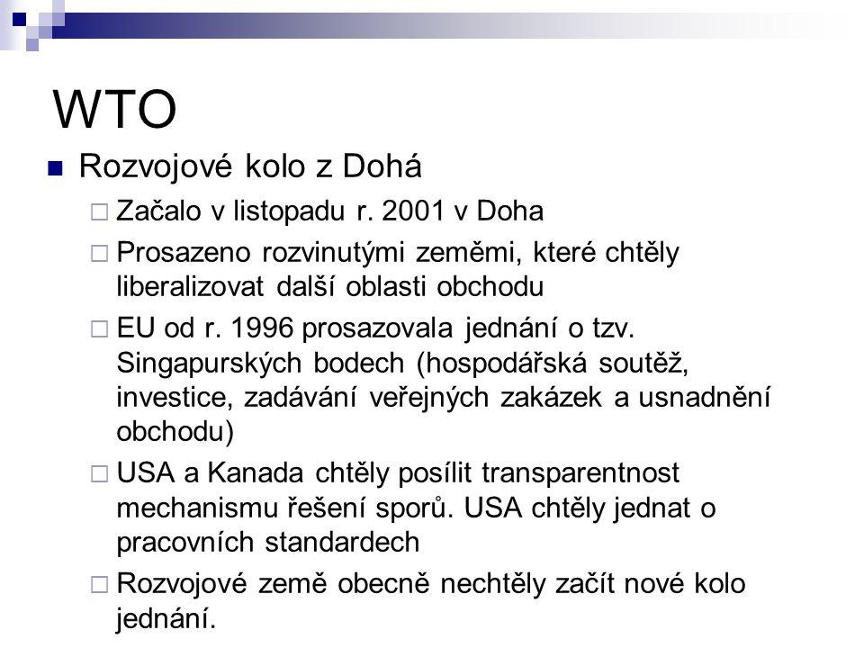 WTO Rozvojové kolo z Dohá Začalo v listopadu r. 2001 v Doha