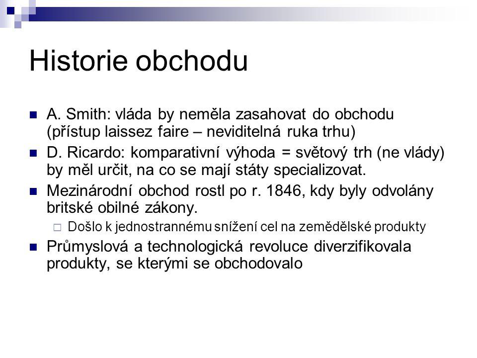 Historie obchodu A. Smith: vláda by neměla zasahovat do obchodu (přístup laissez faire – neviditelná ruka trhu)