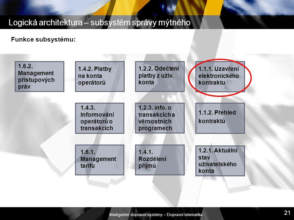 Logická architektura – subsystém správy mýtného