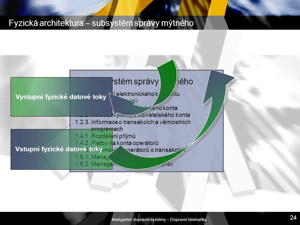 Fyzická architektura – subsystém správy mýtného