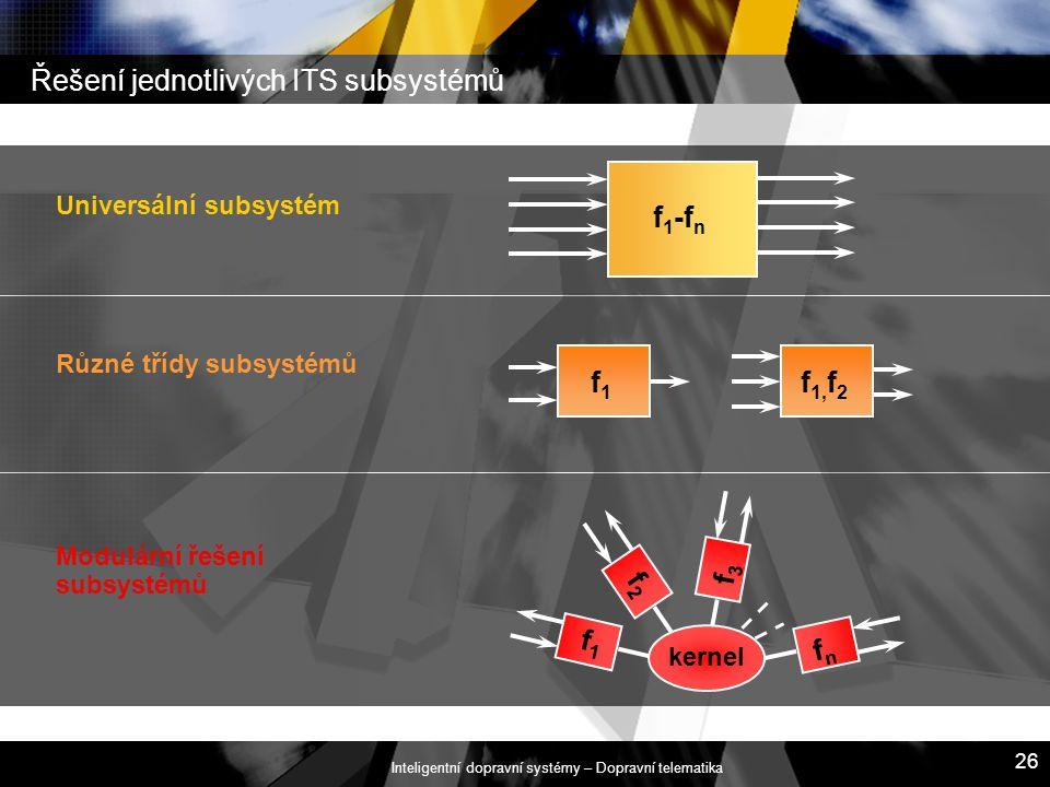 Řešení jednotlivých ITS subsystémů
