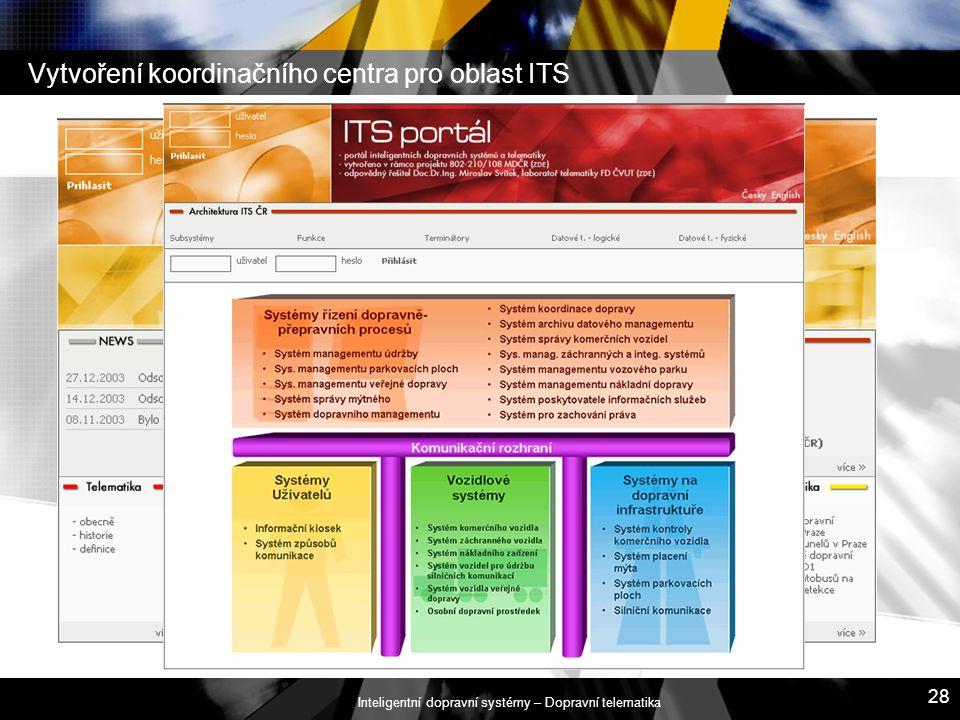 Vytvoření koordinačního centra pro oblast ITS