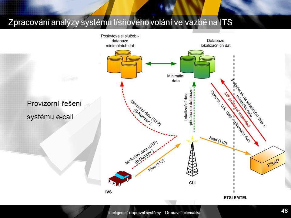 Zpracování analýzy systémů tísňového volání ve vazbě na ITS