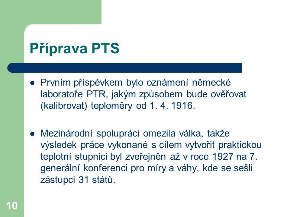Příprava PTS Prvním příspěvkem bylo oznámení německé laboratoře PTR, jakým způsobem bude ověřovat (kalibrovat) teploměry od 1. 4. 1916.