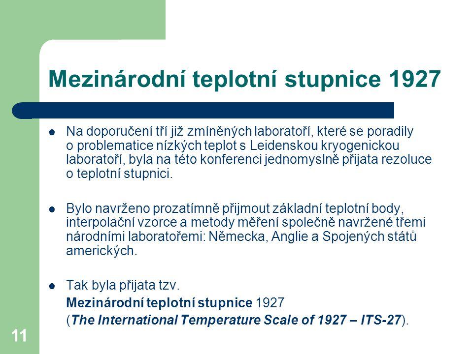 Mezinárodní teplotní stupnice 1927