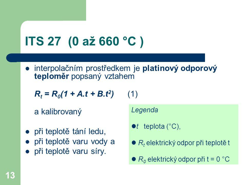 ITS 27 (0 až 660 °C ) interpolačním prostředkem je platinový odporový teploměr popsaný vztahem. Rt = R0(1 + A.t + B.t2) (1)