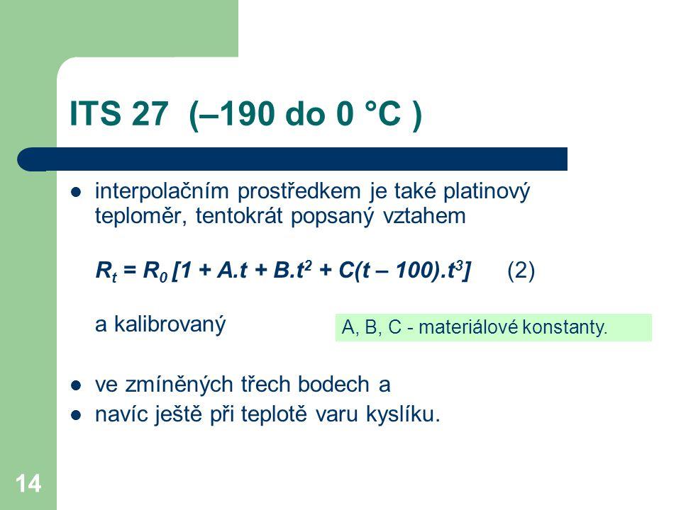 ITS 27 (–190 do 0 °C ) interpolačním prostředkem je také platinový teploměr, tentokrát popsaný vztahem.