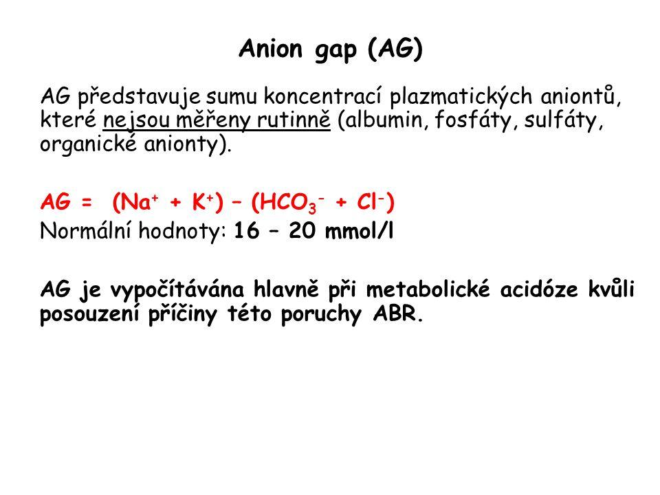 Anion gap (AG) AG představuje sumu koncentrací plazmatických aniontů, které nejsou měřeny rutinně (albumin, fosfáty, sulfáty, organické anionty).