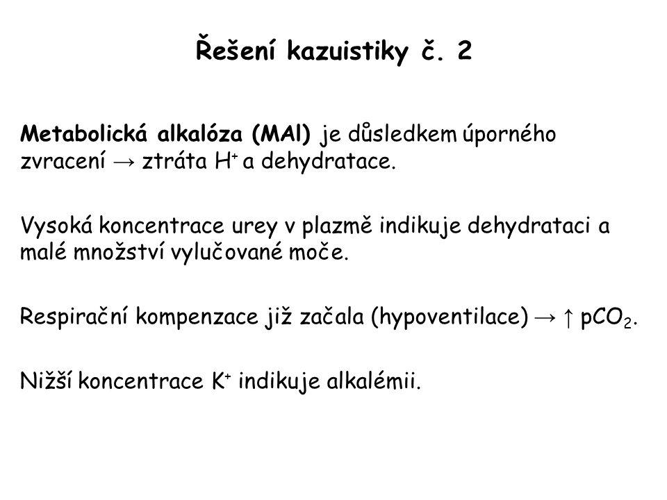 Řešení kazuistiky č. 2 Metabolická alkalóza (MAl) je důsledkem úporného zvracení → ztráta H+ a dehydratace.