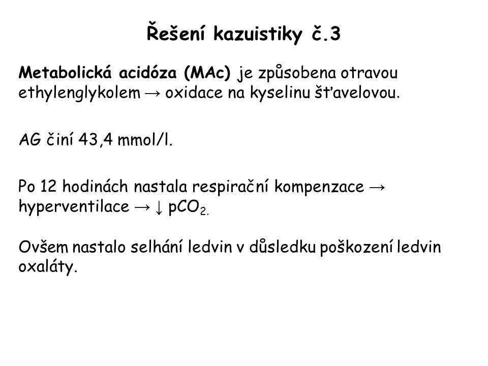 Řešení kazuistiky č.3 Metabolická acidóza (MAc) je způsobena otravou ethylenglykolem → oxidace na kyselinu šťavelovou.