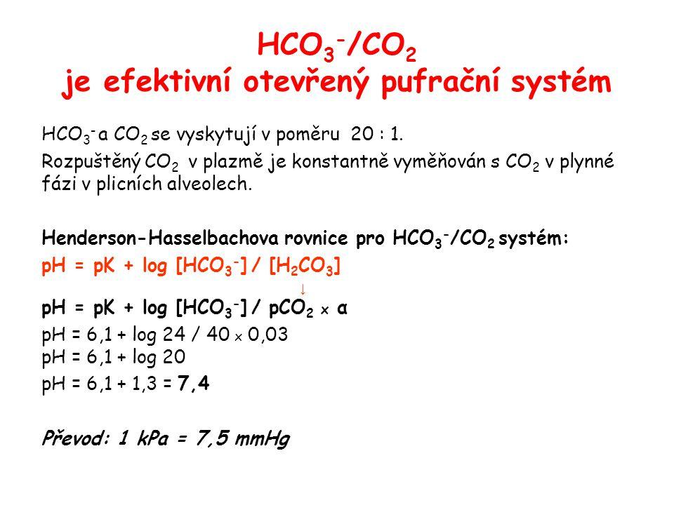 HCO3-/CO2 je efektivní otevřený pufrační systém