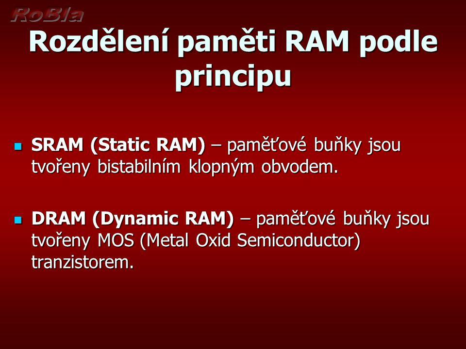 Rozdělení paměti RAM podle principu