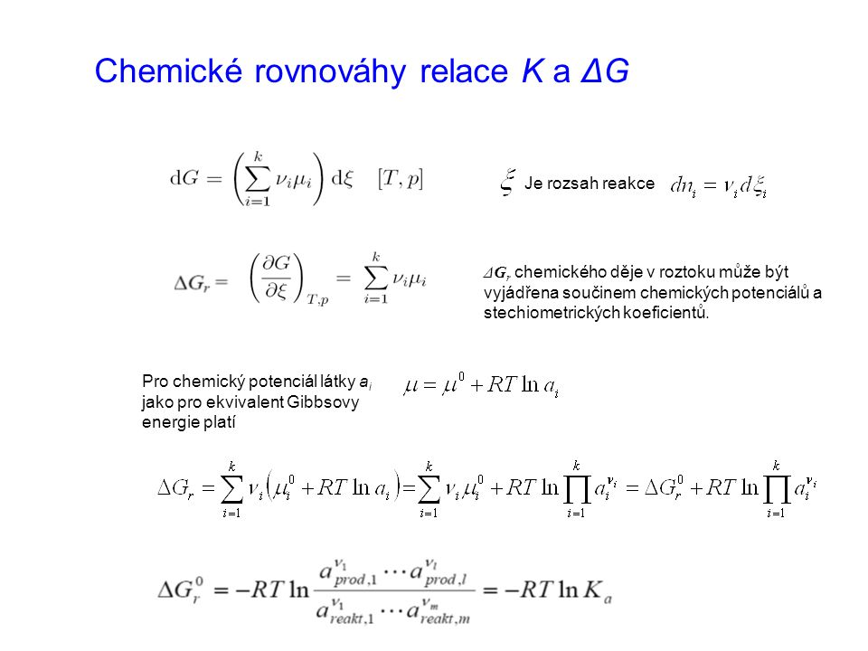Chemické rovnováhy relace K a ΔG