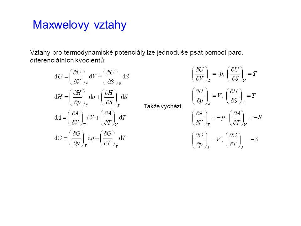 Maxwelovy vztahy Vztahy pro termodynamické potenciály lze jednoduše psát pomocí parc. diferenciálních kvocientů: