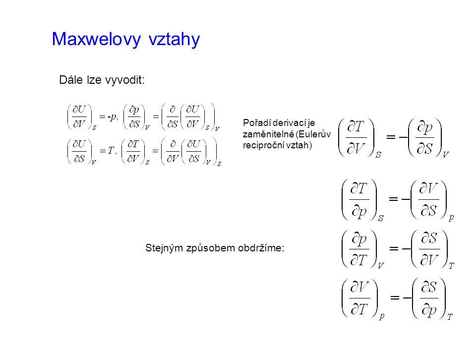 Maxwelovy vztahy Dále lze vyvodit: Stejným způsobem obdržíme: