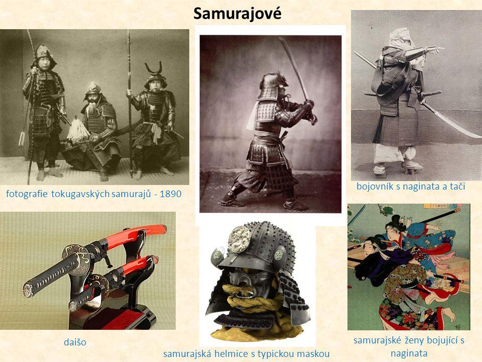 Samurajové bojovník s naginata a tači
