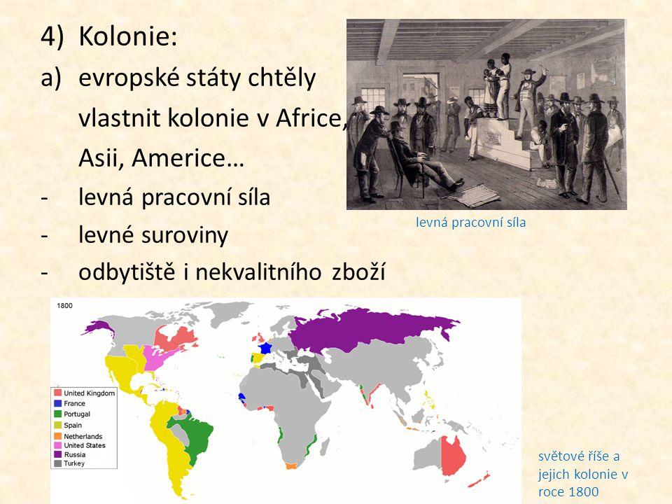 Kolonie: evropské státy chtěly vlastnit kolonie v Africe,