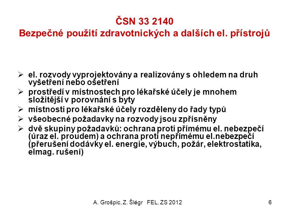 ČSN 33 2140 Bezpečné použití zdravotnických a dalších el. přístrojů