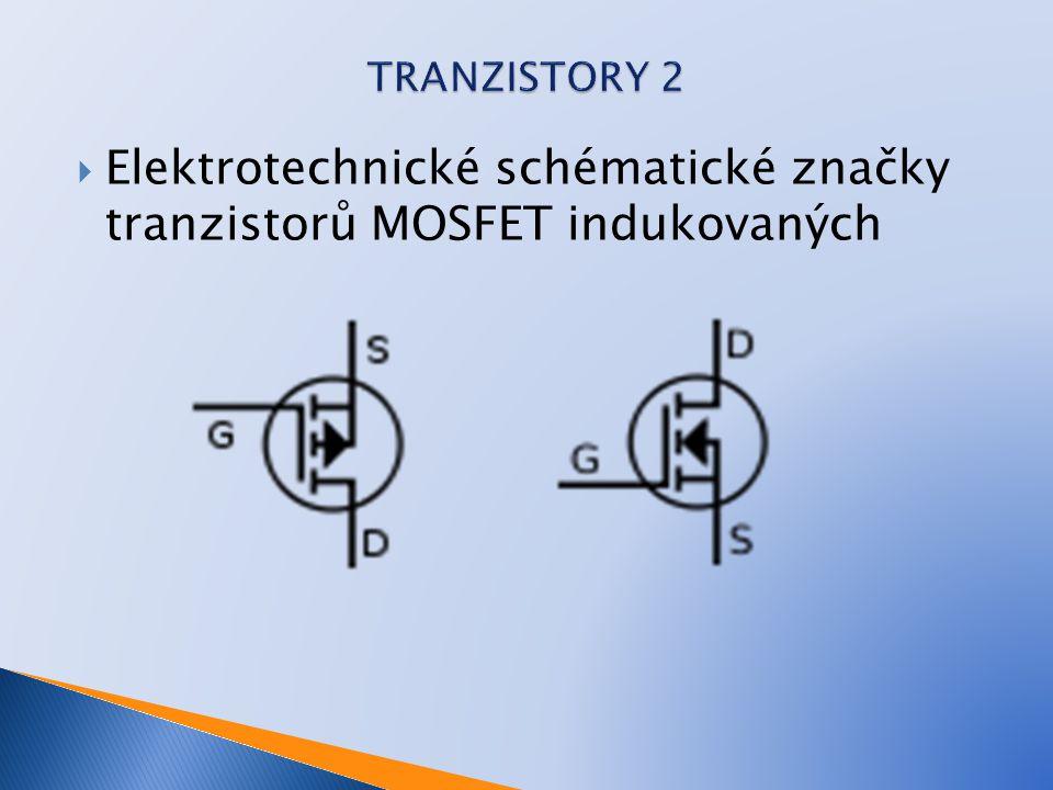 Elektrotechnické schématické značky tranzistorů MOSFET indukovaných