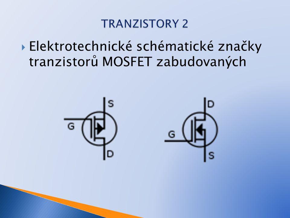 Elektrotechnické schématické značky tranzistorů MOSFET zabudovaných