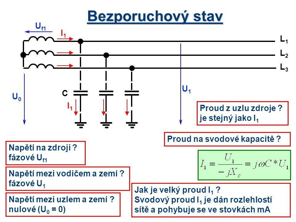 Bezporuchový stav Uf1 I1 L1 L2 L3 U1 C U0 I1 Proud z uzlu zdroje