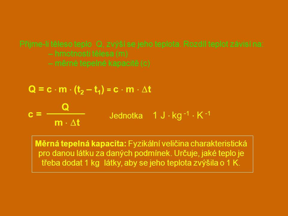 Q = c · m · (t2 – t1) = c · m · Dt Q c = m · Dt