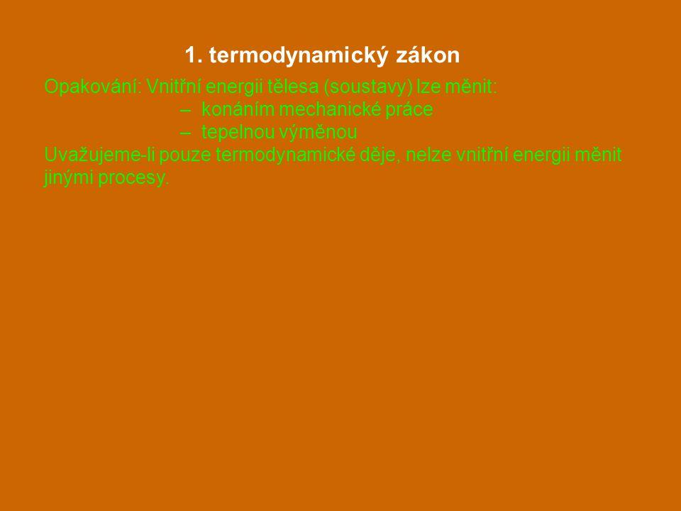 1. termodynamický zákon Opakování: Vnitřní energii tělesa (soustavy) lze měnit: – konáním mechanické práce.