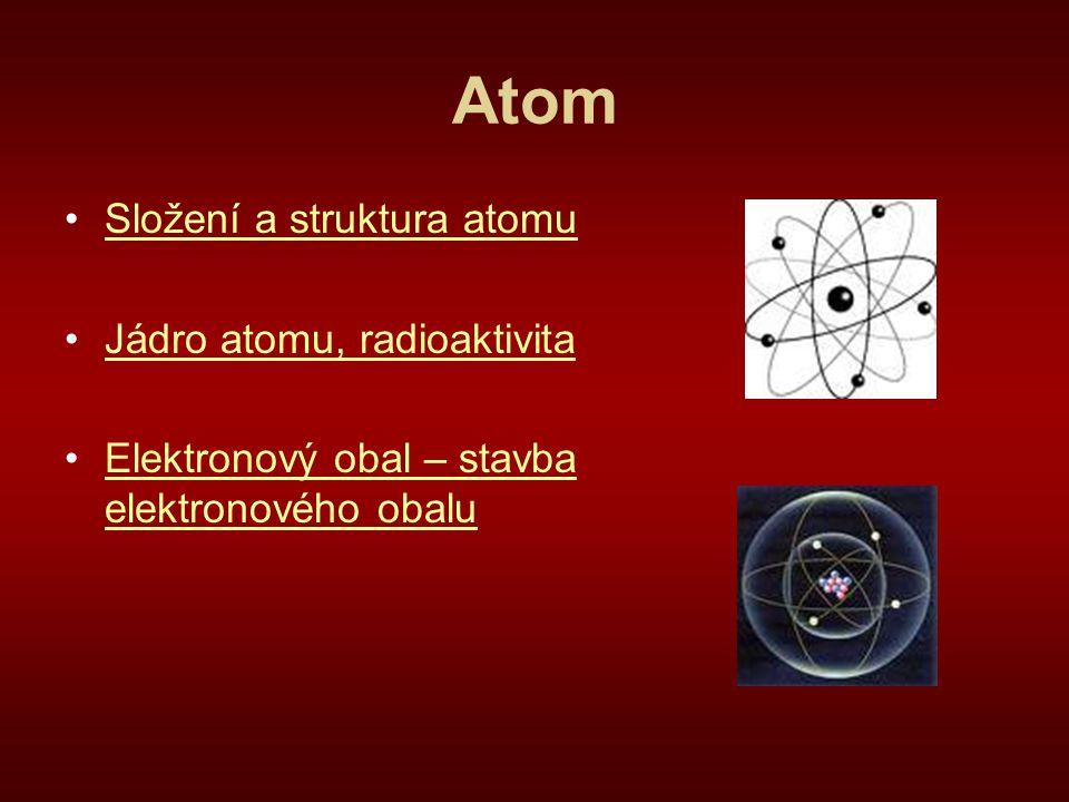 Atom Složení a struktura atomu Jádro atomu, radioaktivita