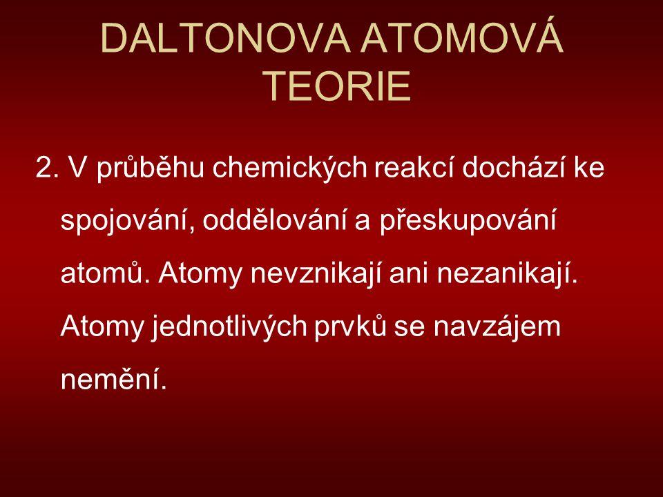 DALTONOVA ATOMOVÁ TEORIE