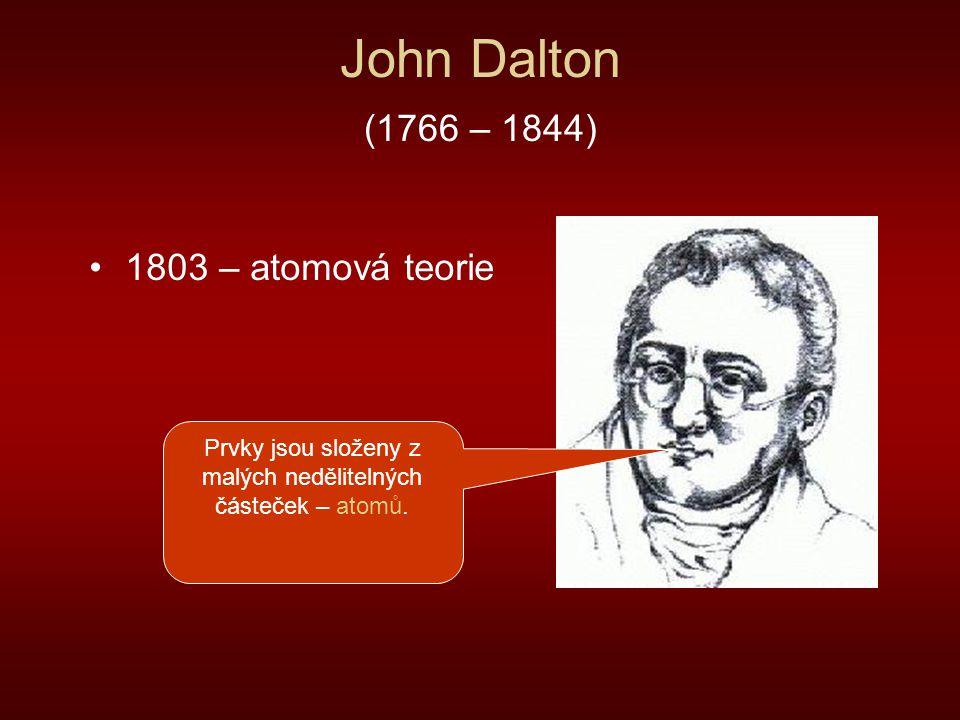 Prvky jsou složeny z malých nedělitelných částeček – atomů.