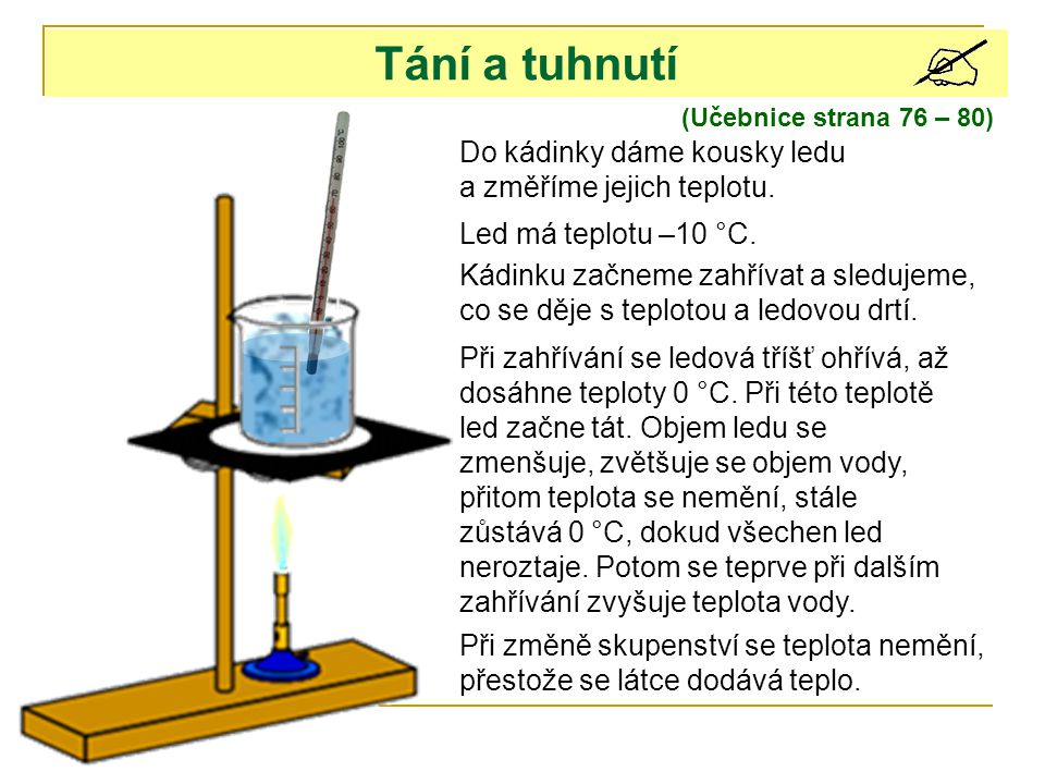 Tání a tuhnutí Do kádinky dáme kousky ledu a změříme jejich teplotu.