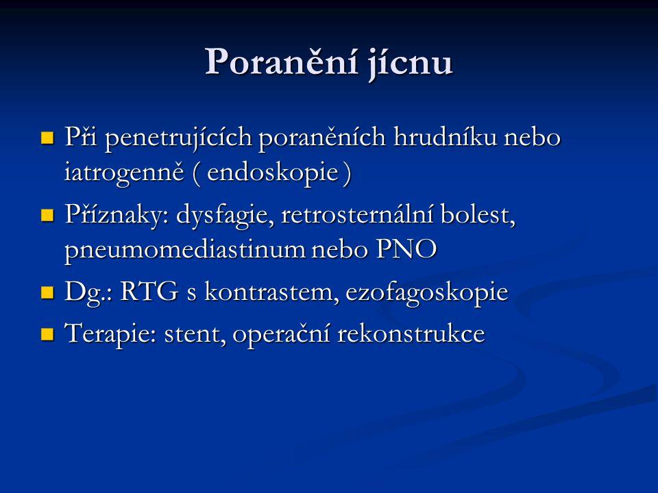 Poranění jícnu Při penetrujících poraněních hrudníku nebo iatrogenně ( endoskopie )