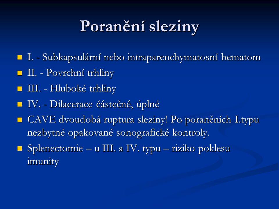 Poranění sleziny I. - Subkapsulární nebo intraparenchymatosní hematom