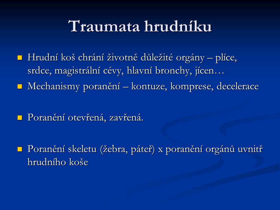 Traumata hrudníku Hrudní koš chrání životně důležité orgány – plíce, srdce, magistrální cévy, hlavní bronchy, jícen…