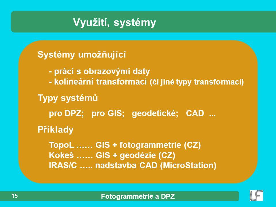 Využití, systémy Systémy umožňující