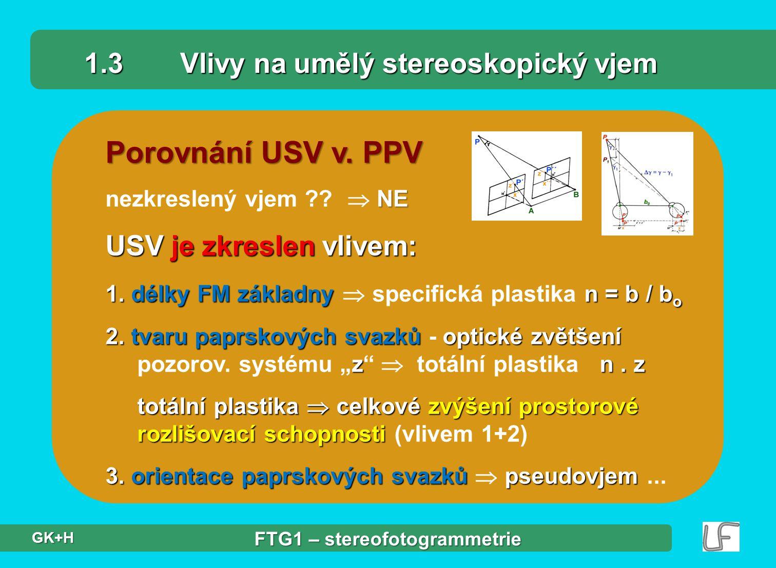 1.3 Vlivy na umělý stereoskopický vjem