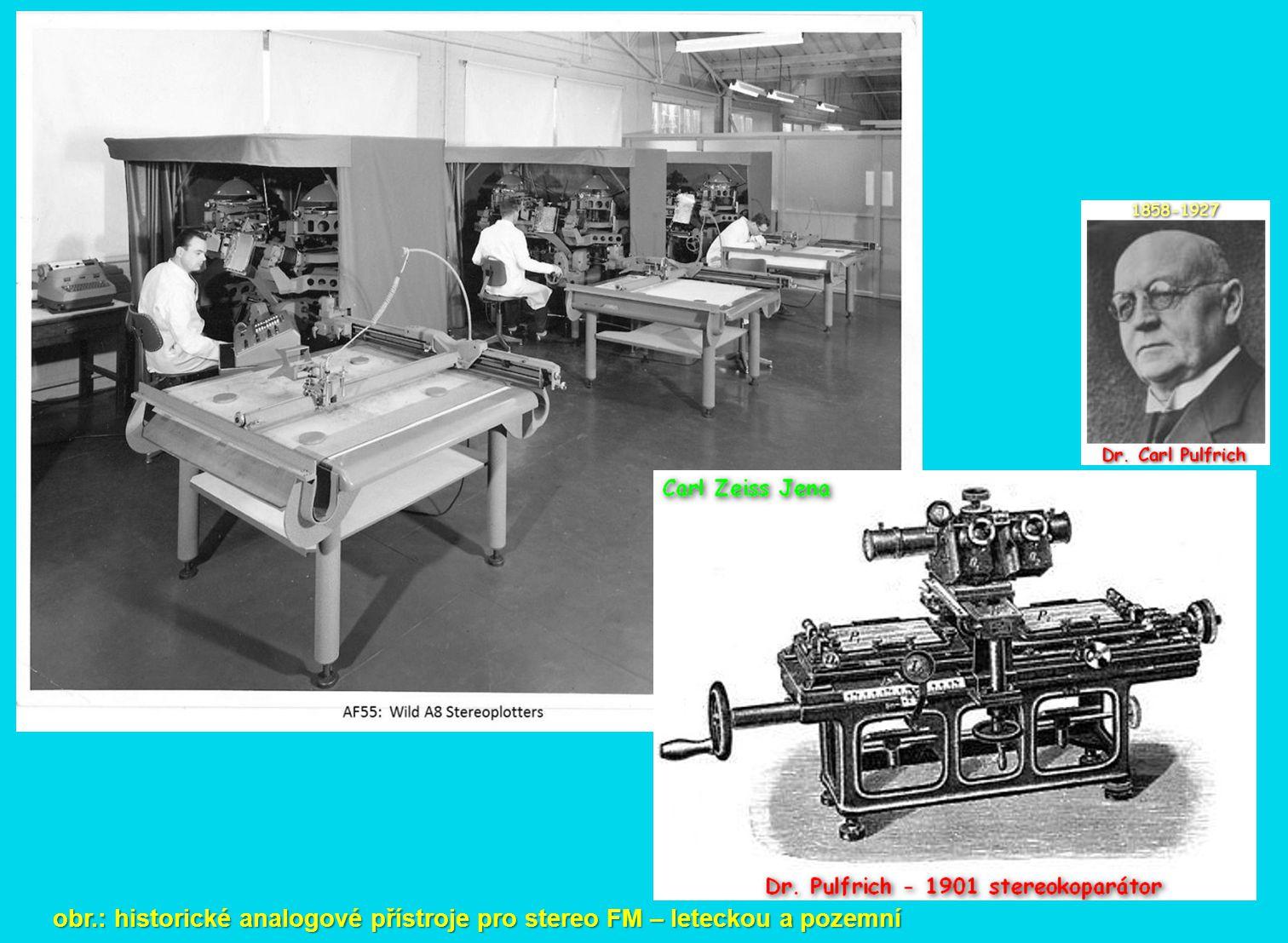 obr.: historické analogové přístroje pro stereo FM – leteckou a pozemní