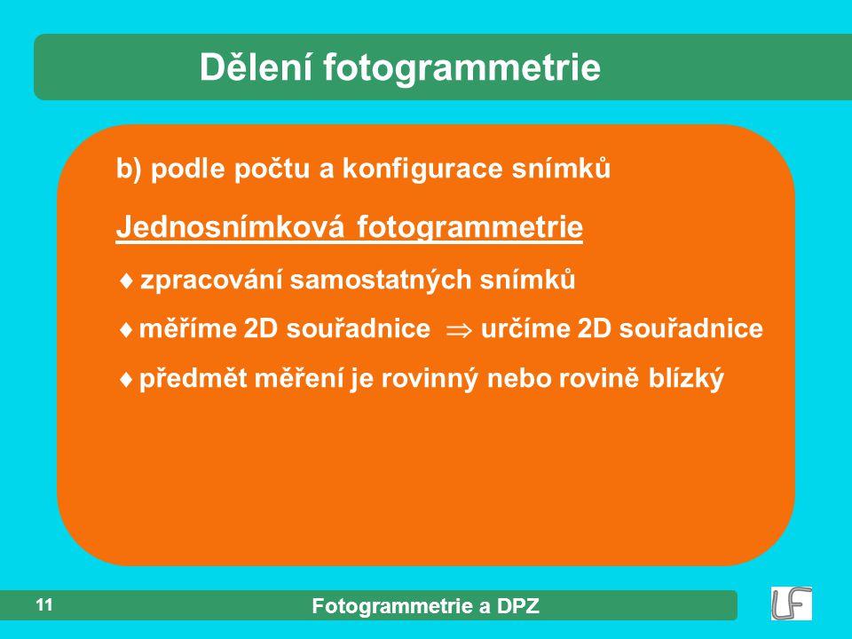 Dělení fotogrammetrie