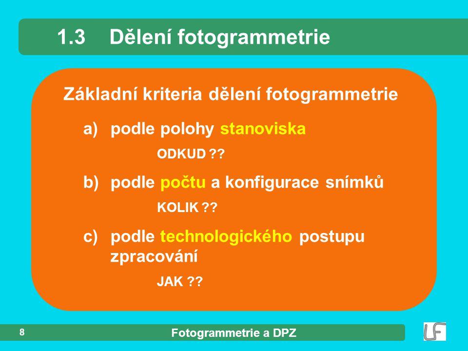 1.3 Dělení fotogrammetrie