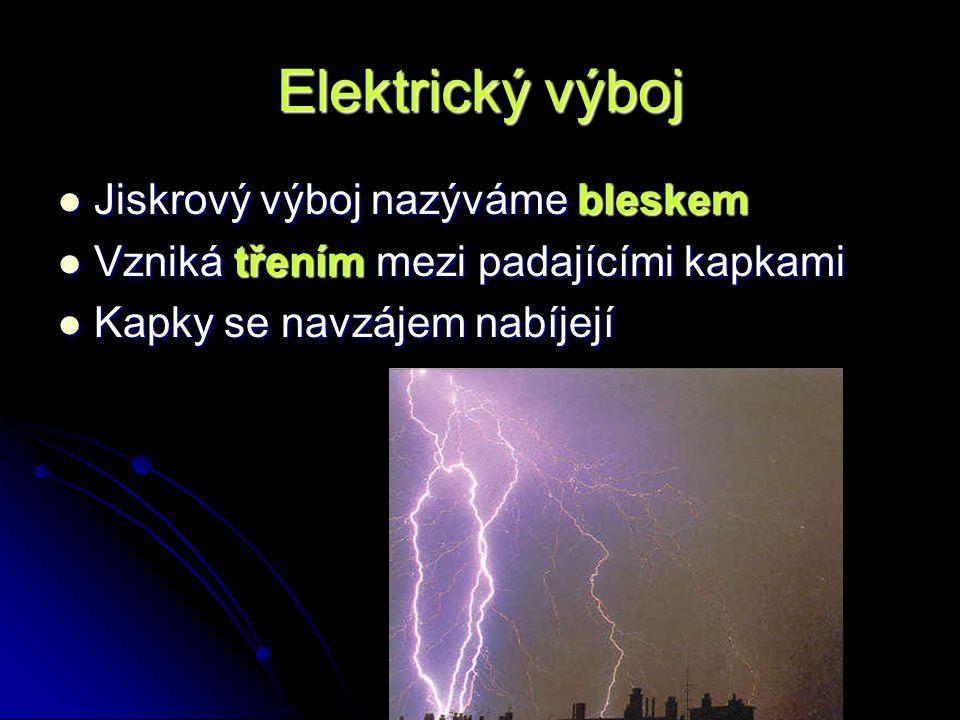 Elektrický výboj Jiskrový výboj nazýváme bleskem