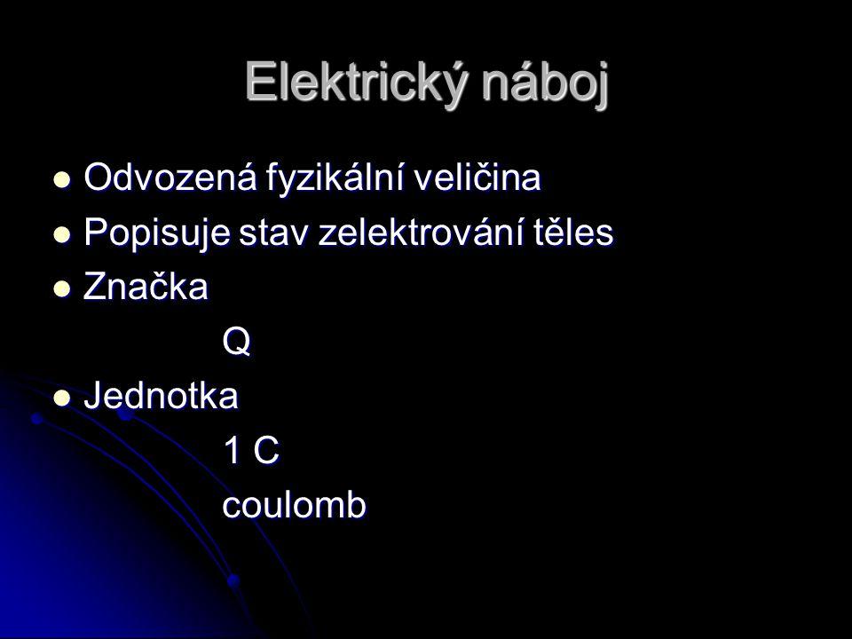 Elektrický náboj Odvozená fyzikální veličina