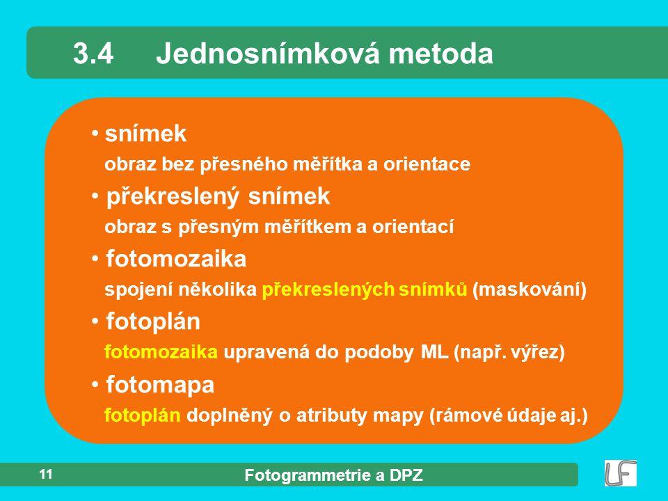 3.4 Jednosnímková metoda snímek překreslený snímek fotomozaika