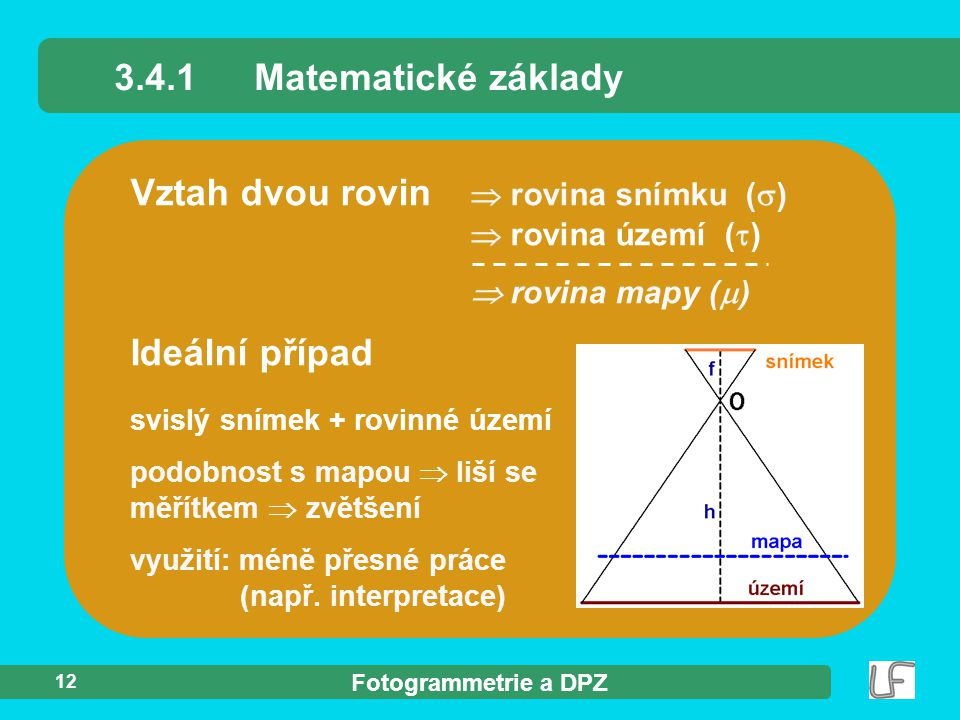 Vztah dvou rovin  rovina snímku ()  rovina území ()